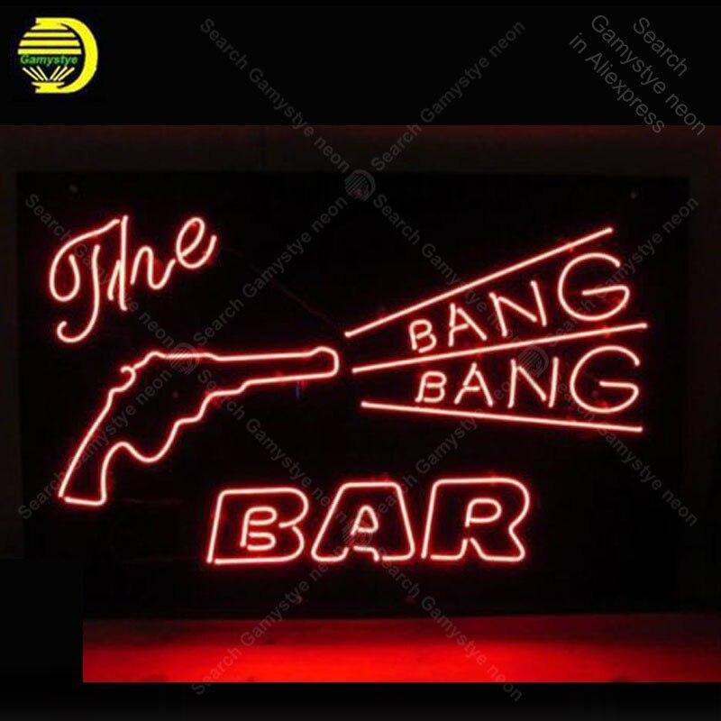 Sinal de néon para O Bang Bang Bar Sinal lâmpada de néon de Cerveja Decorar o quarto de parede Artesanais Tubo de vidro Sinal de luzes de Néon iconic Anunciar