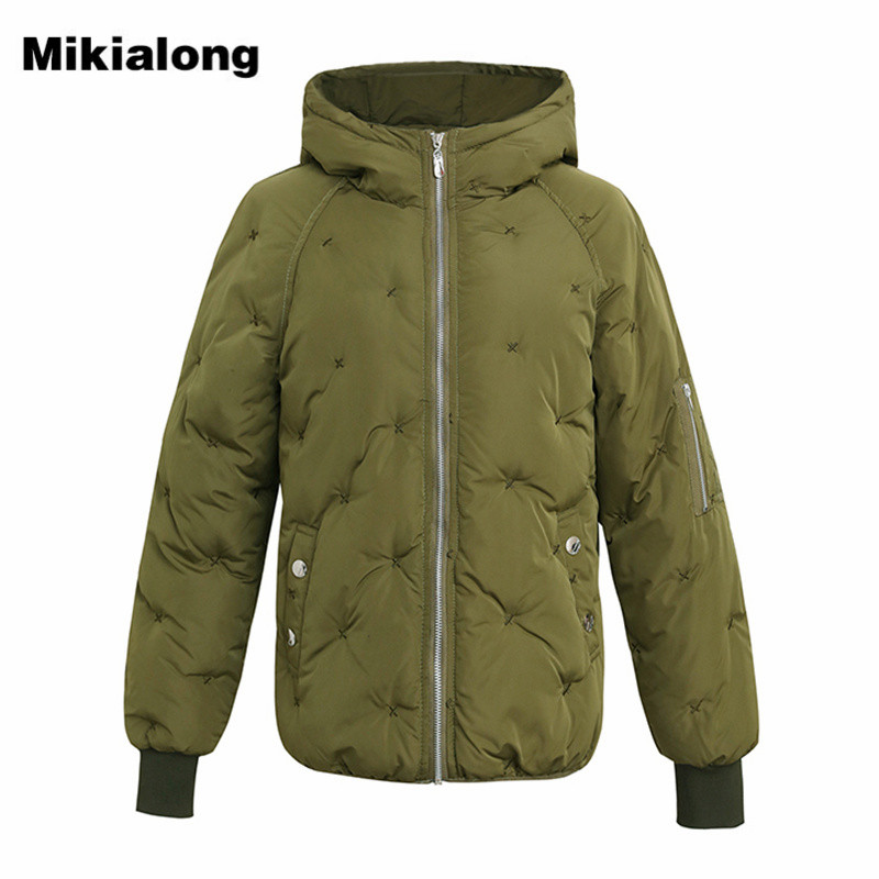 Mikialong Winter Wadded Jacket Women Casual Hooded Parkas 2017 Warm Plus Size Cotton Padded Coat Female Outerwear Parka Mujer new 2017 women winter jacket cotton padded long hooded parkas casual wadded warm outwear plus size unique style women s coat