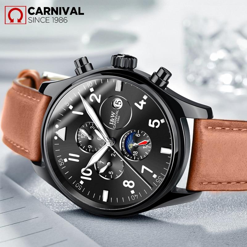 2017 TopBrand Luxury Famous Brand Watch CARNIVAL Mens Automatic Mechanical Watch Multifunction Handsome matt Luminous waterproof