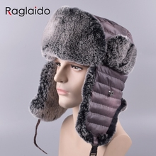 Raglaido sombreros de los hombres al aire libre invierno real conejo Pieles  de animales Trapper sombreros be06fa46e55