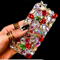 Sunjolly Luxe 3D Diamond Case Rhinestone Bling Cover Crystal coque capa voor iPhone X 8/8 Plus 7/6 s/6 Plus 5 S 5 SE 5C 4 S 4
