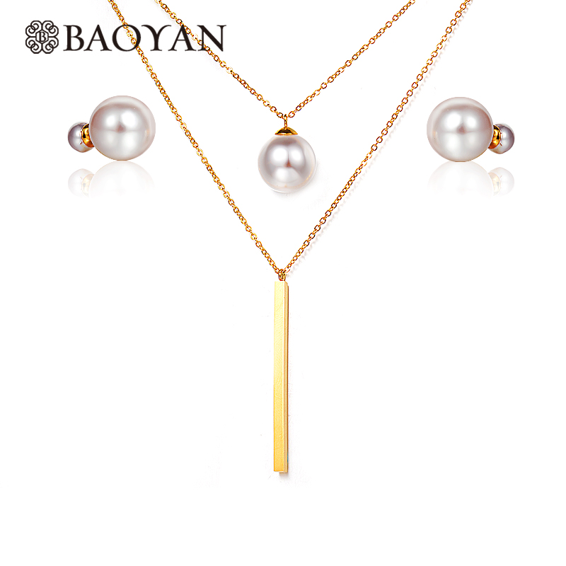 BAOYAN 316L Stainless Steel Gold Color Black White Double Pearl Ball Stud Earring Multilayer Necklace Jewelry Sets for Women N1 luxusteel gold silver color round opal stainless steel earring sets nickel free stud earring wholesale jewelry