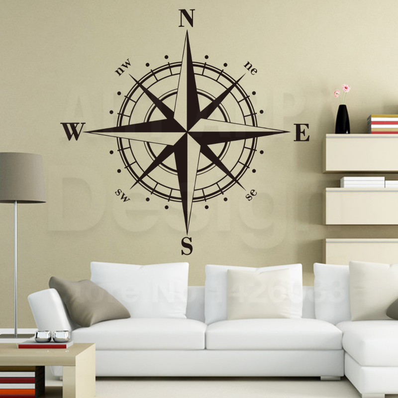 Art Design home decoration Vinyl Compass Wall Sticker removable colorful house decor PVC sailing font b