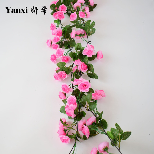 Silk Rose Artificial Flowers Vine For Home Tabletop Garden Wedding Party  Shop Decoration Fake Flower Rattan