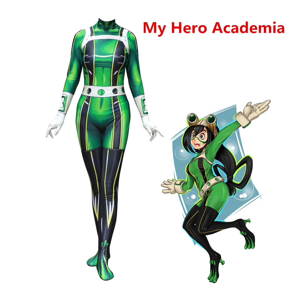 Anime My Hero Academia Boku no Hero Academia Asui Tsuyu Women Cosplay Costume Zentai Bodysuit Jumpsuits fancy ball suits