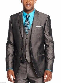 New Styles Peaked Lapel Grey Groom Tuxedos Shiny Groomsman Men Formal Business Suits Men Prom Party Suit(Jacket+Pants+Vest)