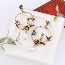 Vintage big Cutout statement earrings for women 2019 bird drop dangle flower pearl fringe Ohrringe