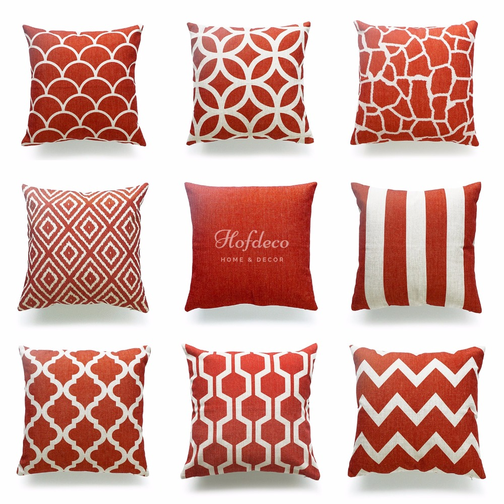 Decorative Throw Pillow Case Burnt Orange Geometric Cotton Linen HEAVY  WEIGHT FABRIC Sofa Chair Couch Car