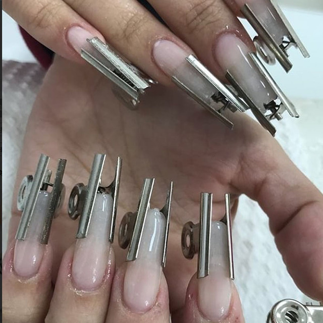 6Pcs/set Russian C Curve Nail Extension Pinching Tool Stainless Steel Acrylic Nail Pincher Clips Fiber Glass For Nails