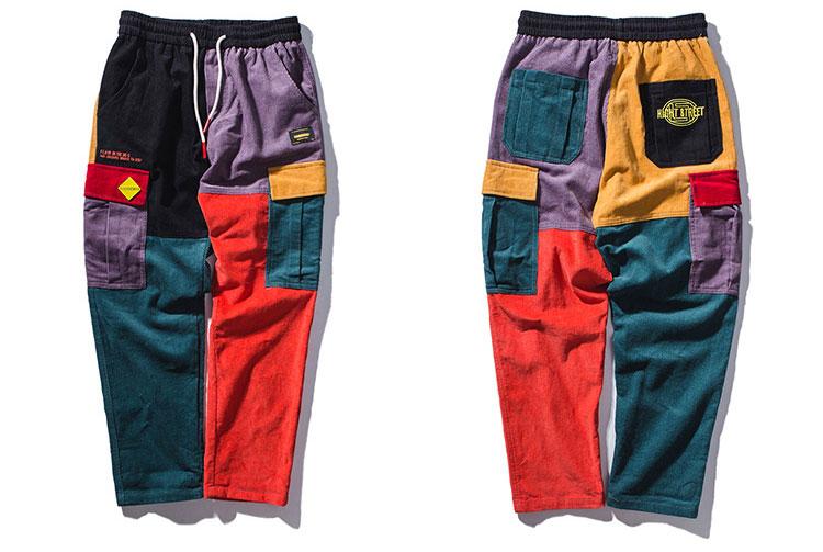 Corduroy Color Block Patchwork Cargo Pants 1