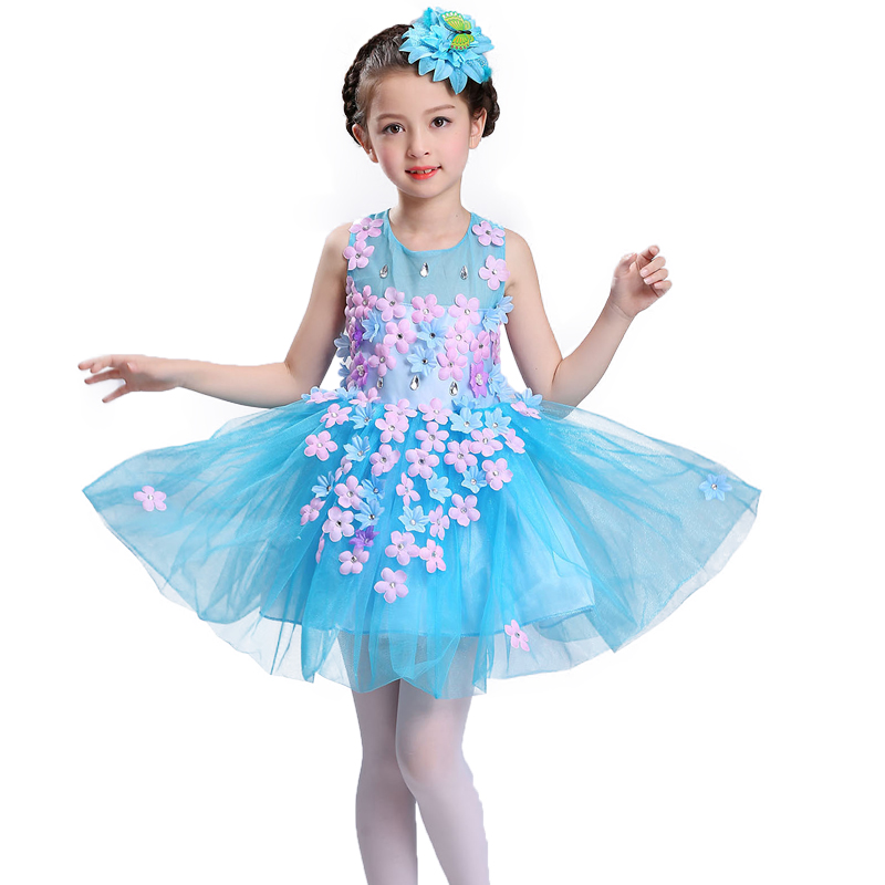 New summer baby girl Clothes print flower girl dress for wedding girls party dress with bow dress 8