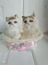 7x7x10cm white two cats model with one basket ,polyethylene&furs handicraft Figurines&Miniatures decoration toy a2358