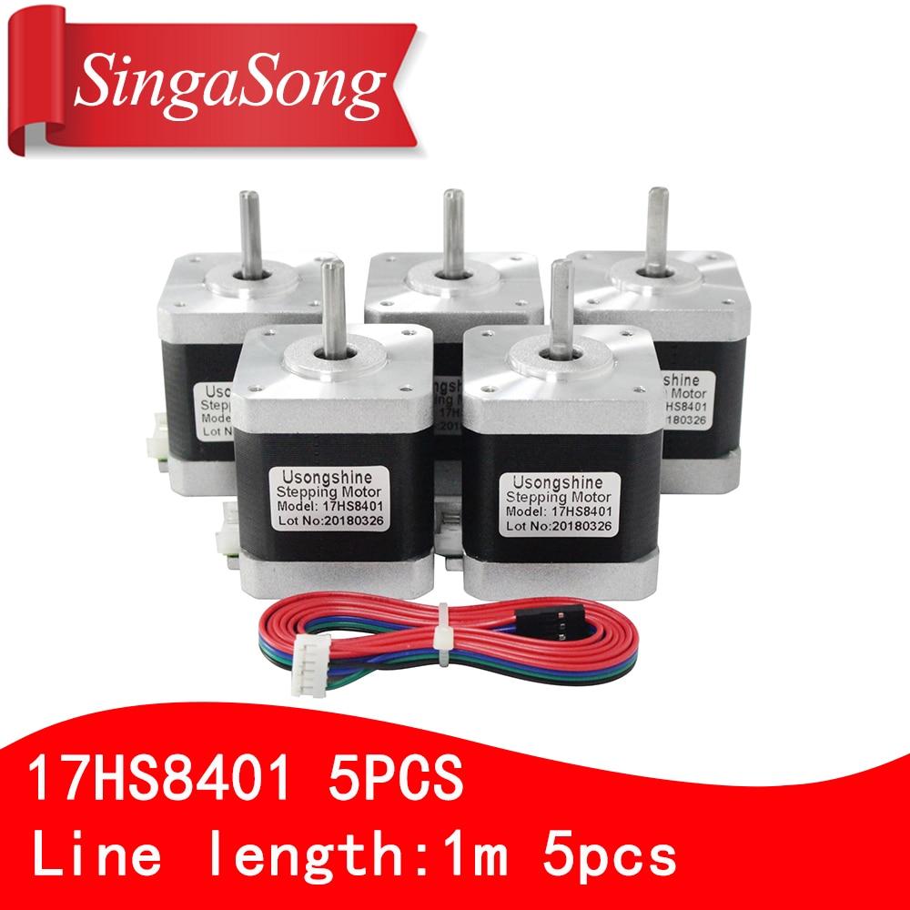 5 unids/lote 4-plomo 17HS8401 motor Nema17 Motor paso a paso 42 motor 17HS8401 1.7A CE ROSH láser CNC para 3D impresora con cables