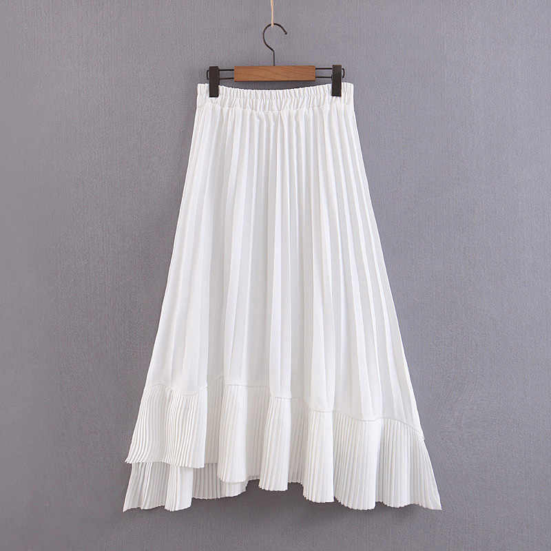 Pleated Midi White Skirts Womens Asymmetrical Summer Ruffled Long Skirt Female Elastic Waist A line Jupe Tulle Skirts Ladies EQ
