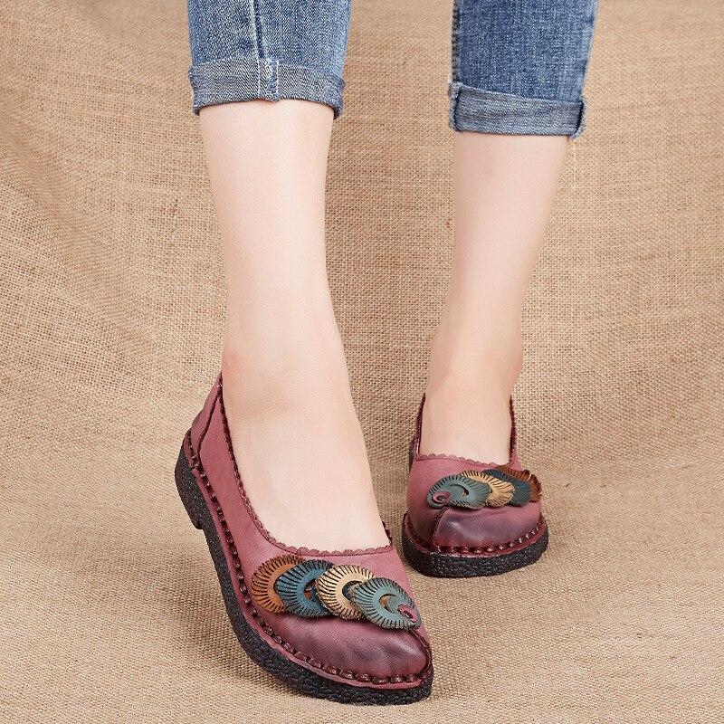 Chaussures plates en cuir véritable grande taille en cuir véritable à la main appartements mocassins femme solide décontracté femmes chaussures