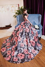100%real luxury floral printing trailing queen gown vintage ball gown royal Medieval Renaissance Victorian dress Belle ball