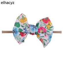 Flamingo/Watermelon/Floral 5.5 Waffle Hair Bow Elastic Nylon Headband Girl Soft Kids Hot Sale Accessories