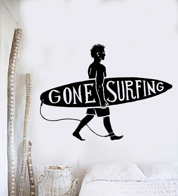 New sport series wall decal surfing guy surf beach surfer wall sticker vinyl art design wall