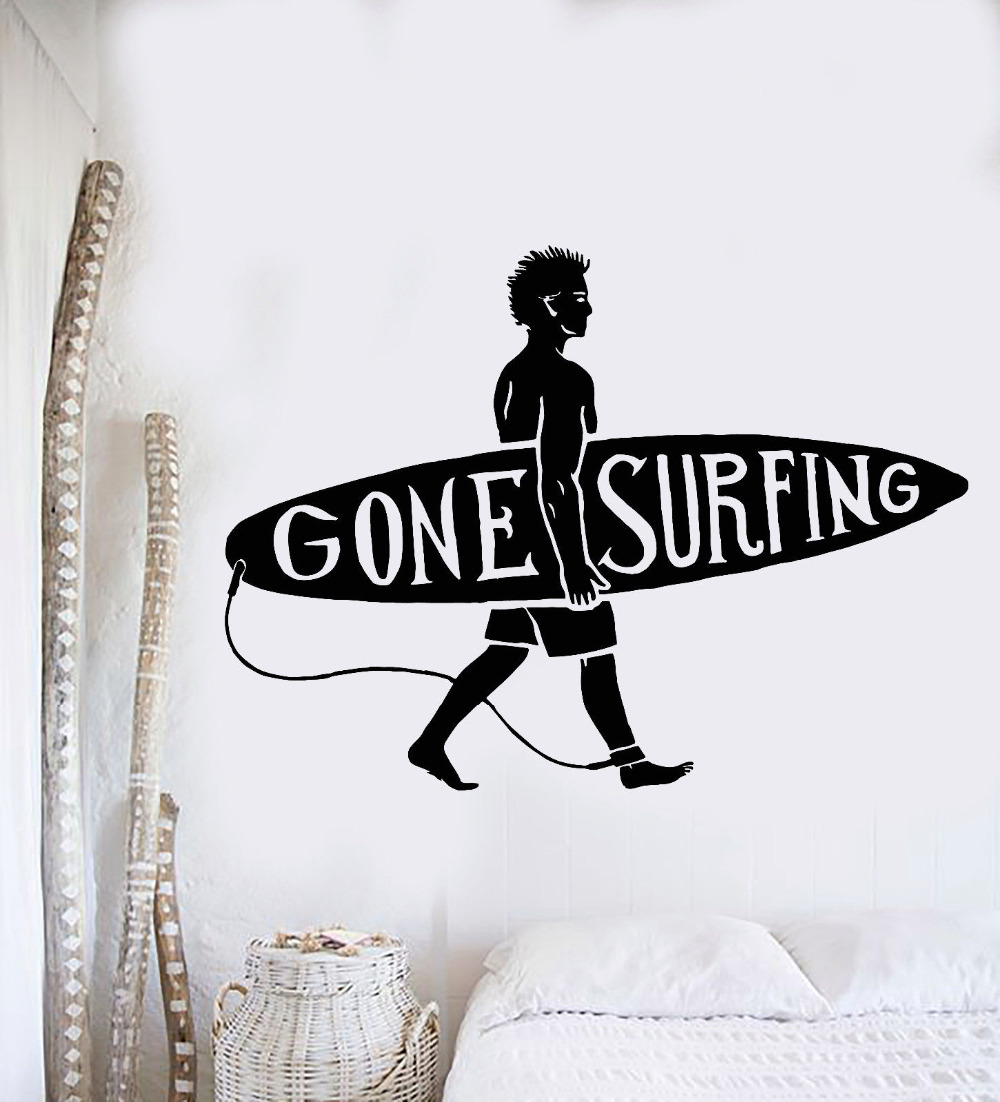 popular surfer wall mural buy cheap surfer wall mural lots from new sport series wall decal surfing guy surf beach surfer wall sticker vinyl art design wall