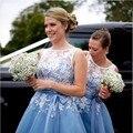 La más nueva Luz Azul Corto Vestidos de dama de Honor Con Apliques de Encaje de La Boda Vestidos Del Partido Real Longitud de La Rodilla Vestido de festa de casamento