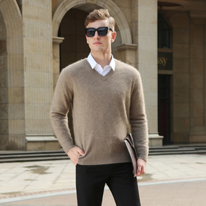 Image 5 - Mink Cashmere Sweater Men Long Sleeve Pullovers Outwear Man V Neck sweaters Tops Loose Solid Fit Knitting Clothing 9 Colors New