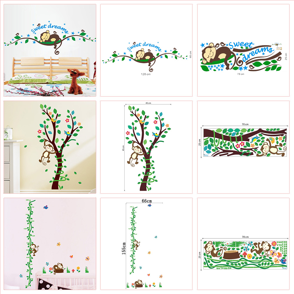 Dessin D Une Chambre D Enfant Ξjoli singe avec arbre sticker mural pour maternelle chambre