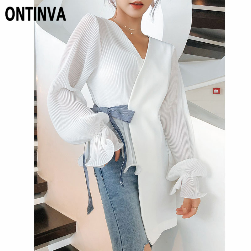 White Irregular Women Chiffon Blouse Fashion Patchwork V Neck Blusas Bow Belted Elegant Office Lady Long Sleeve Cardigan Tops