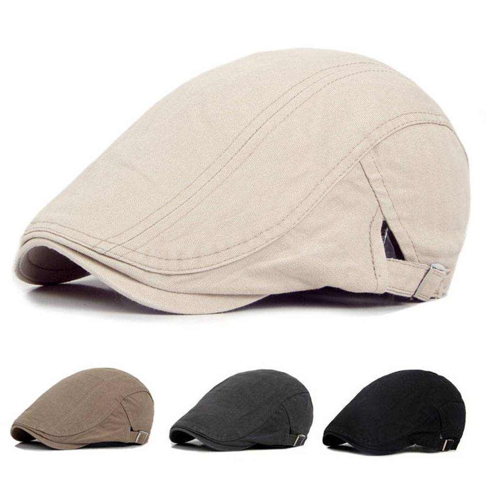 Mens Ivy Hat Solid Cotton Gatsby Cap Golf Driving Summer Sun Flat Cabbie Newsboy ...