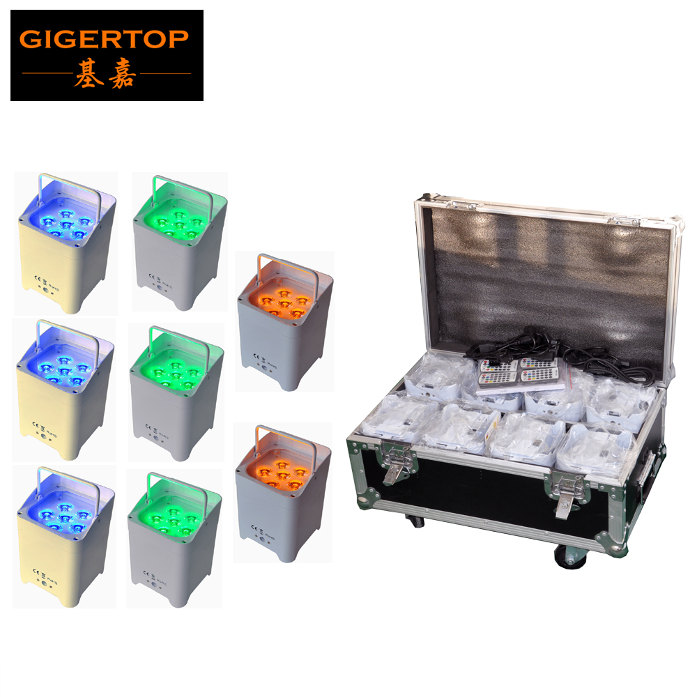 Freeshipping 8IN1 Charging Flightcase With Wheels 6x18W 6 Color Battery Wireless Led Par Light No Cooling Fan 7800MHA Li Battery