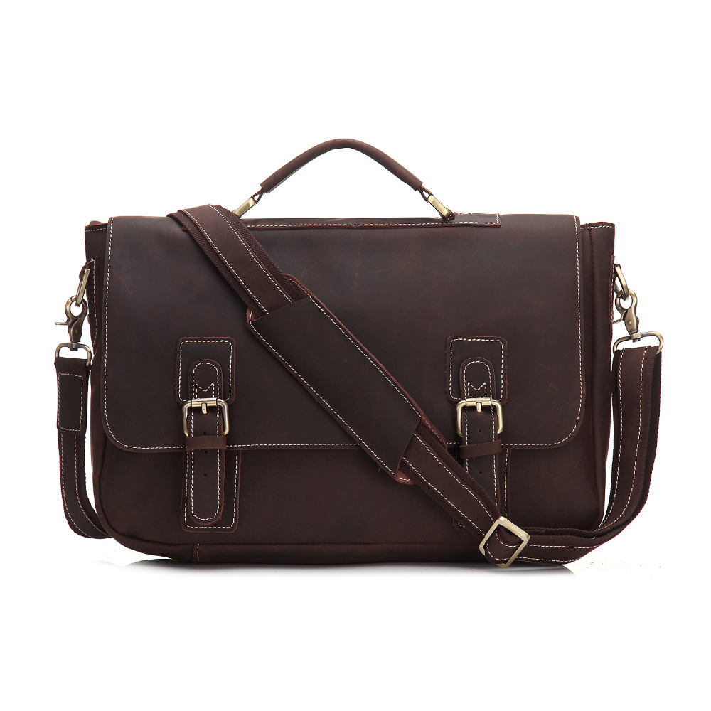 YISHEN Vintage Fashion Men Briefcase Crazy Horse Genuine Leather Male Handbags Personality Laptop Case Men Shoulder Bags MS9005YISHEN Vintage Fashion Men Briefcase Crazy Horse Genuine Leather Male Handbags Personality Laptop Case Men Shoulder Bags MS9005