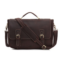 YISHEN Vintage Fashion Men Briefcase Crazy Horse Genuine Leather Male Handbags Personality Laptop Case Men Shoulder Bags MS9005