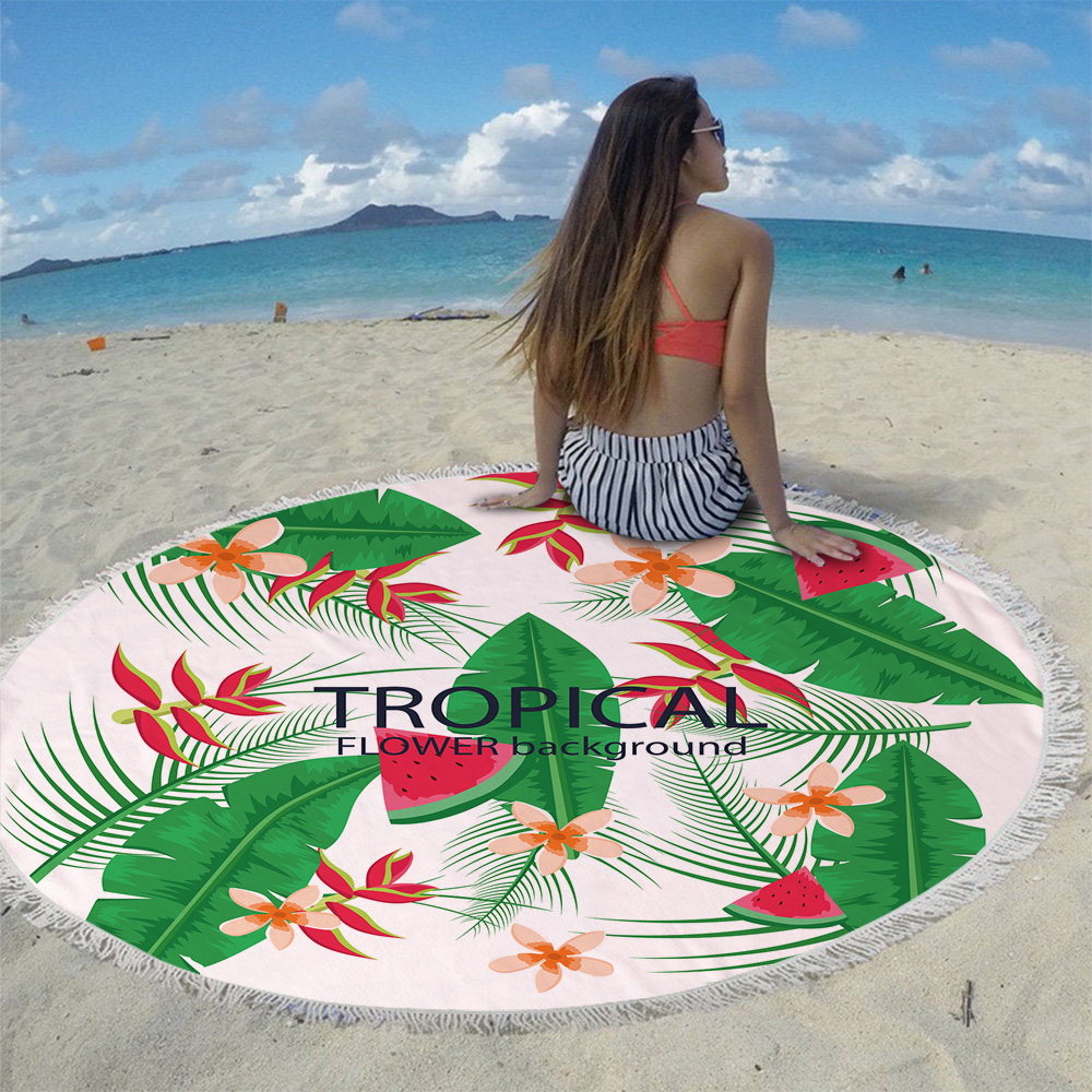 Silstar Tex Colorful Flowers Microfiber 150 Diameter Circle Beach Towel with Tassel Bohemian Large Beach Towels Picnic Blanket