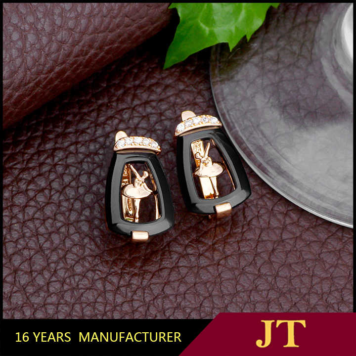 2019 JH Brand Popular Black Ceramic Dancer Earring With AAA Zircon For Women of Gift Trend Jewelry Accessories