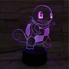 Pokemon Go Squirtle Figure LED Night Lamp for Child Birthday Gift Bedside Decorative Acrylic Decor Light USB