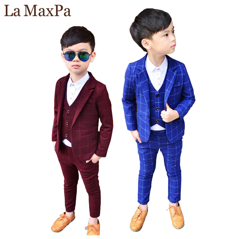 La MaxPa 2018 New 3PCS Kids Plaid Wedding Blazer Suit Brand Flower Boys Formal Tuxedos School Suit Kids Spring Clothing Set
