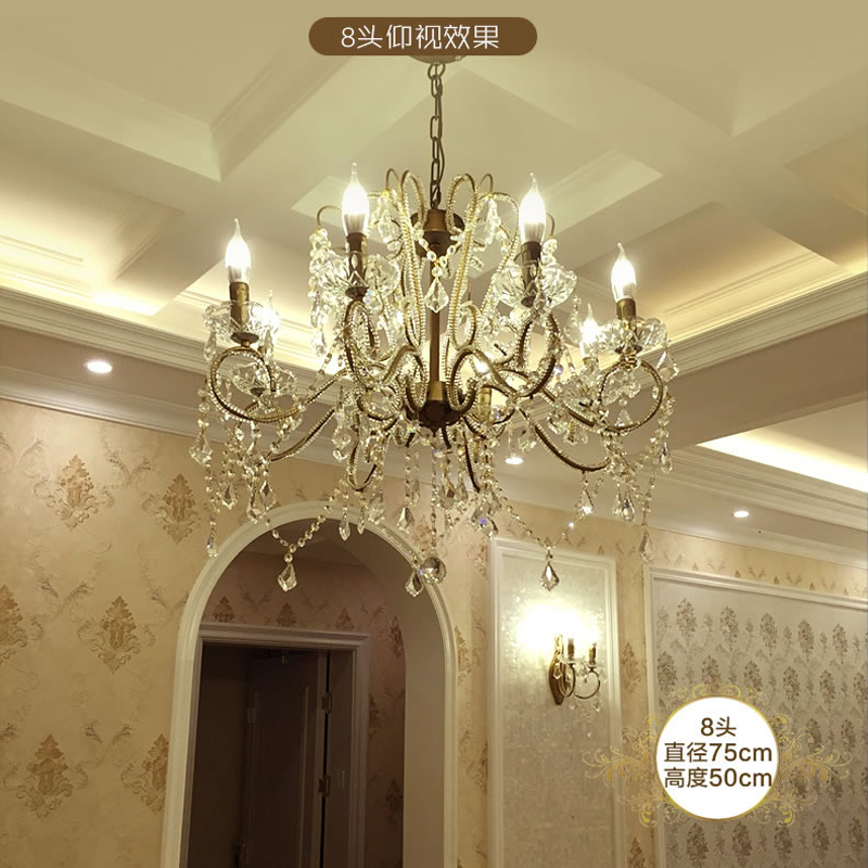led Crystal Chandelier Living Room Retro Crystal Chandelier lamps Room Lighting chandeliers for bedroom Suspended Hanging Lamps french villa crystal lamps living room chandelier bedroom lamps restaurant lamps alloy continental pendant glass zinc alloy led
