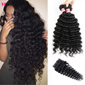 Brazilian Deep Wave With Closure 3 pcs Deep Wave Bundles With Closure Brazilian Deep Curly Weave Human Hair With Closure