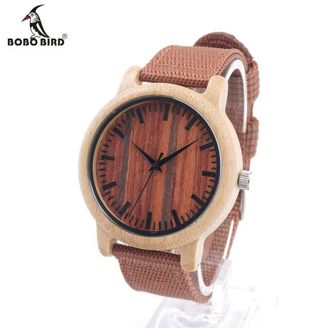 Bobo bird d10 novo designer de relógio de madeira de luxo com alça de tecido relógios de pulso movimento japão 2035 quartz relógio de madeira para o amigo