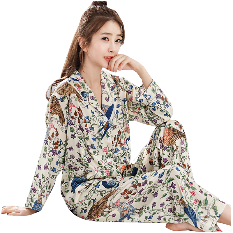 WLK Women Sleepwear 4 Seasons Womens Silk Pajamas Sets Autumn Summer Female Embroidered Satin Pyjamas Home wear Loungewear 808 ...