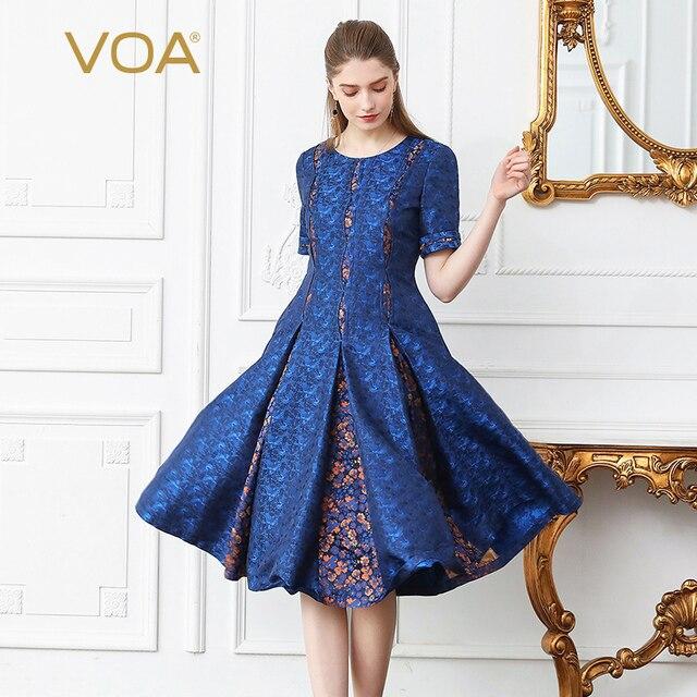 VOA Silk Jacquard Print Pleated Dress Women Plus Size 5XL Slim Midi ...