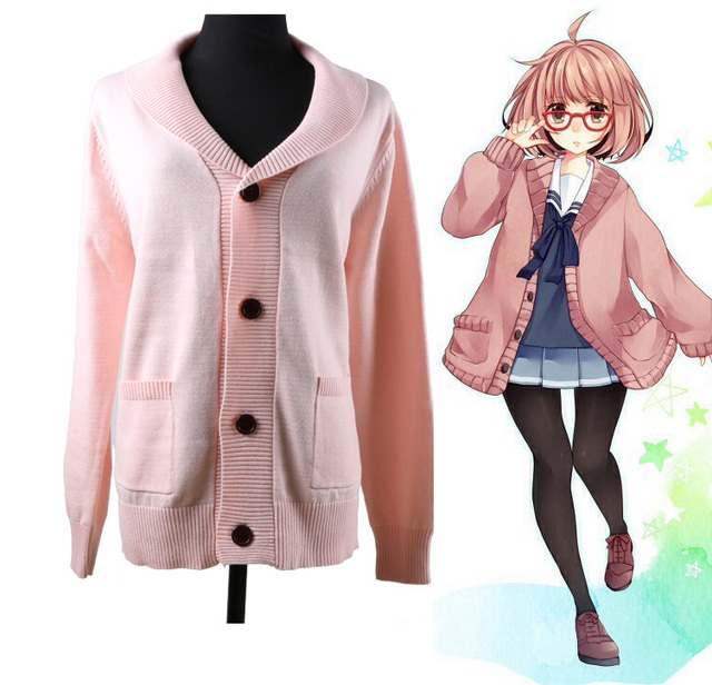 Anime Kyokai no Kanata Kuriyama Mirai Japanese JK School Uniform Sweater  Cute Pink Long Sleeve Cardigan Cosplay Winter 8a2356b1ef