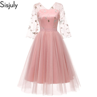 Women Spring Summer Evening Party Floral Embroidery Pink Princess Dress See Through Mesh Lace Applique Beige Backless Dresses