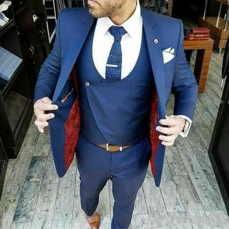 Blue Groom Tuxedos Notch Lapel Slim Fit Groomsman Wedding 3 Piece Suit Popular Men Business Jacket Blazer Jacket+Pants+Vest(China)