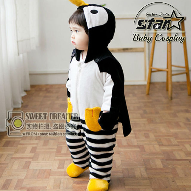 New 2016 Kids Funny Costume Children Winter Clothing Baby Boys Cartoon Penguin Footies for Newborns Creepers Baby Costume
