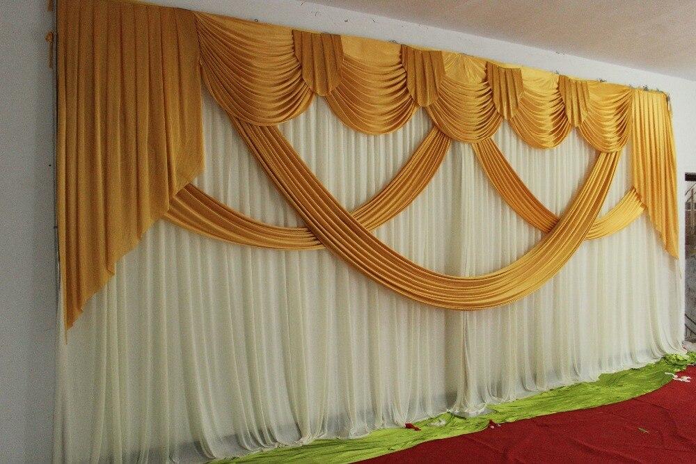 Gran venta telón de fondo de boda con telón de fondo swag boda decoración romántica hielo seda escenario cortinas al por mayor varios colores-in Cenefa de ventana from Hogar y Mascotas    1