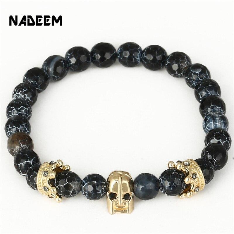 NADEEM Fashion Elastic Weathering Rock Stone Bead Spartan Helmet & Crown Charm Bracelet Jewelry For Women Men Pulseira Masculina
