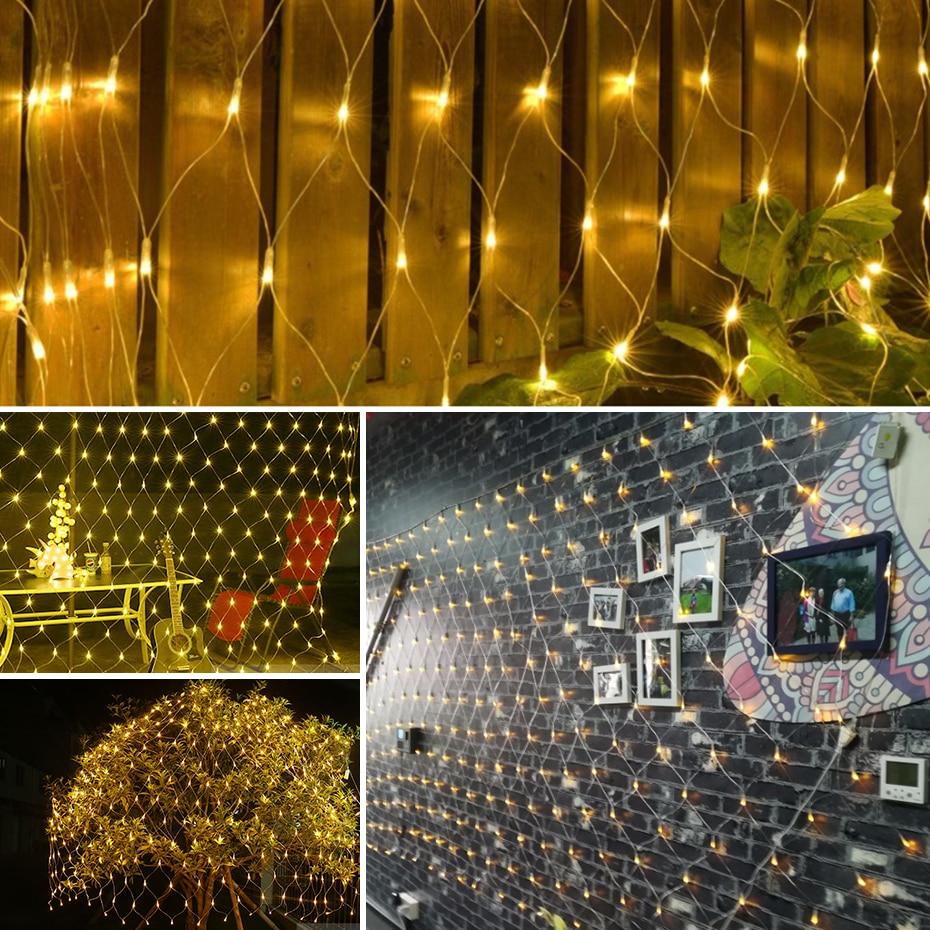 Outdoor Lighting Lighting Strings Smart New Year 6mx4m 96/200/672leds Net Mesh String Light 8 Mode Fairy Garland Outdoor For Wedding Christmas Light Holiday Patio Light