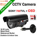 Free Shipping Security CCTV 960H SONY CCD 700TVL Effio-E Waterproof 36 Pcs Leds Bullet Camera OSD Menu 6mm Lens With Bracket
