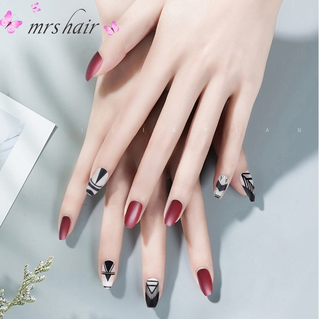 Ballet Nail Art Sticker Manicure Products Fake Nail Patch 24 Piece