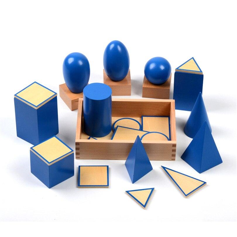 Bébé jouet Montessori géométrique solides avec supports Bases et boîte éducation de la petite enfance enfants jouets Brinquedos Juguetes - 3